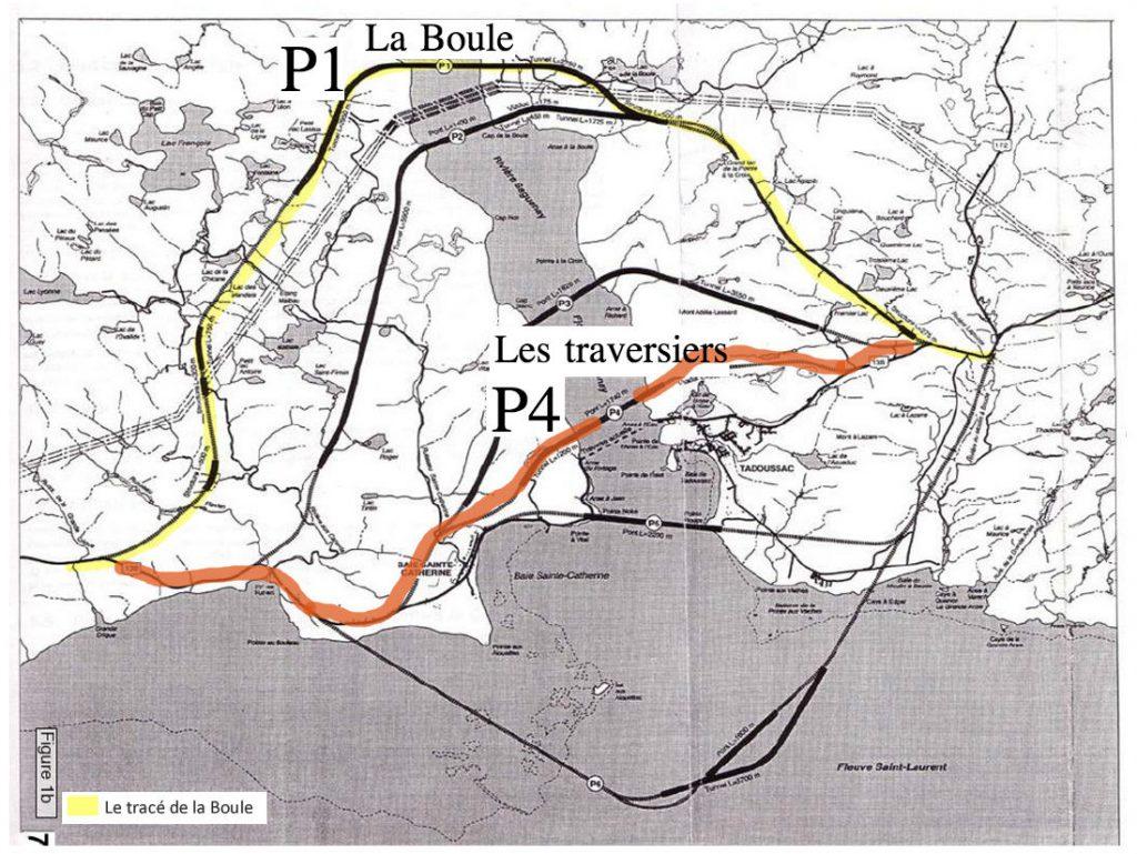 map des différents tracés proposés