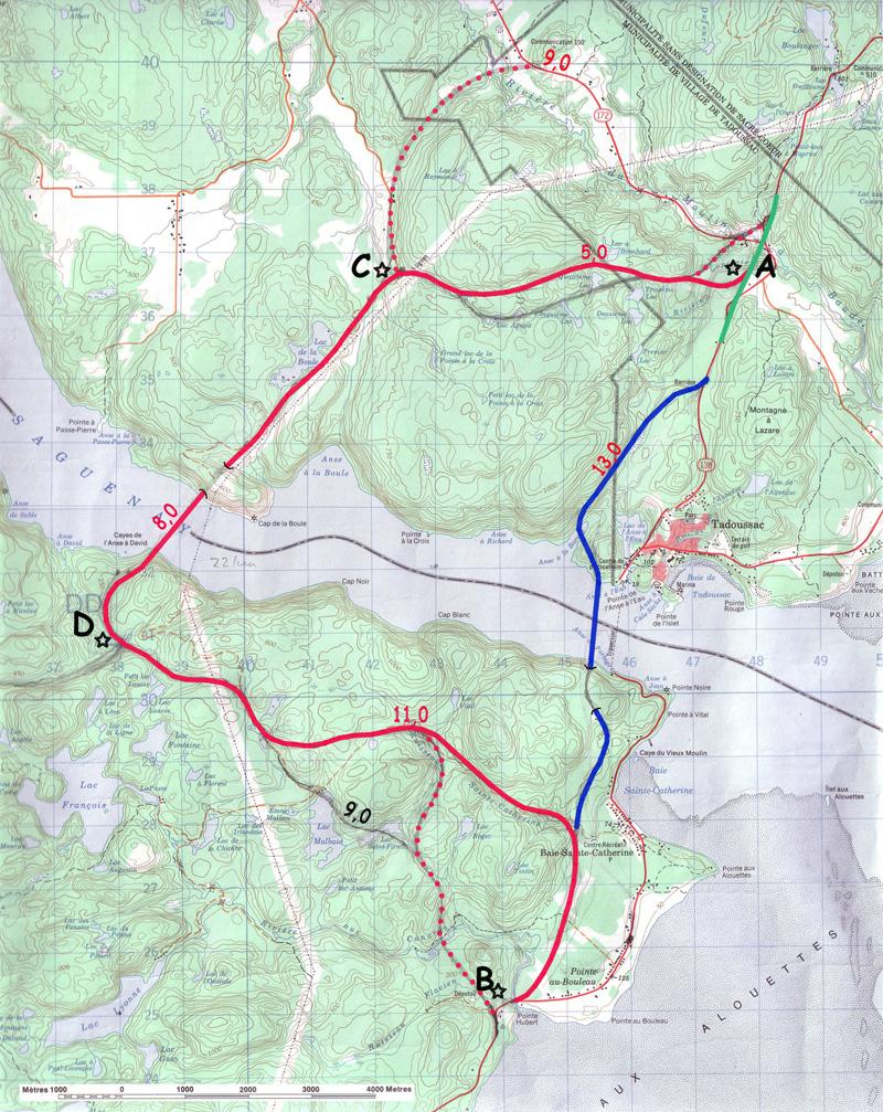AB: SNC 13km, LGL 24km Différentiel 11km ou 7 minutes